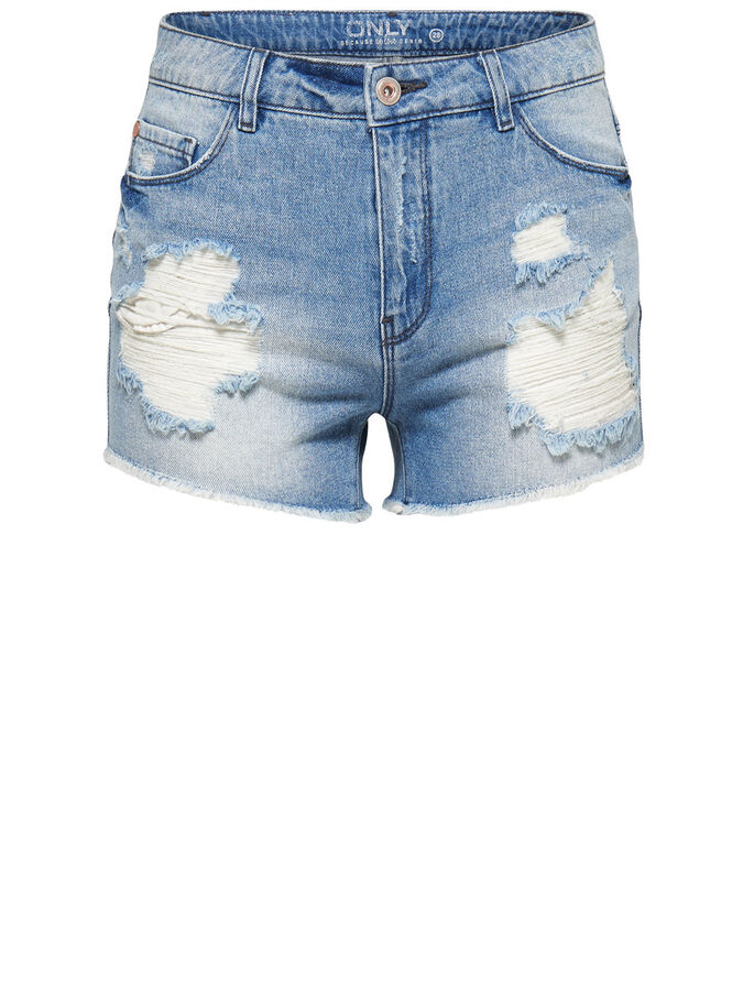 HIGHWAISTED DESTROYED DENIM SHORTS, Medium Blue Denim, large
