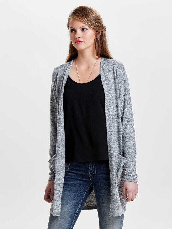 MANCHES LONGUES CARDIGAN, Light Grey Melange, large