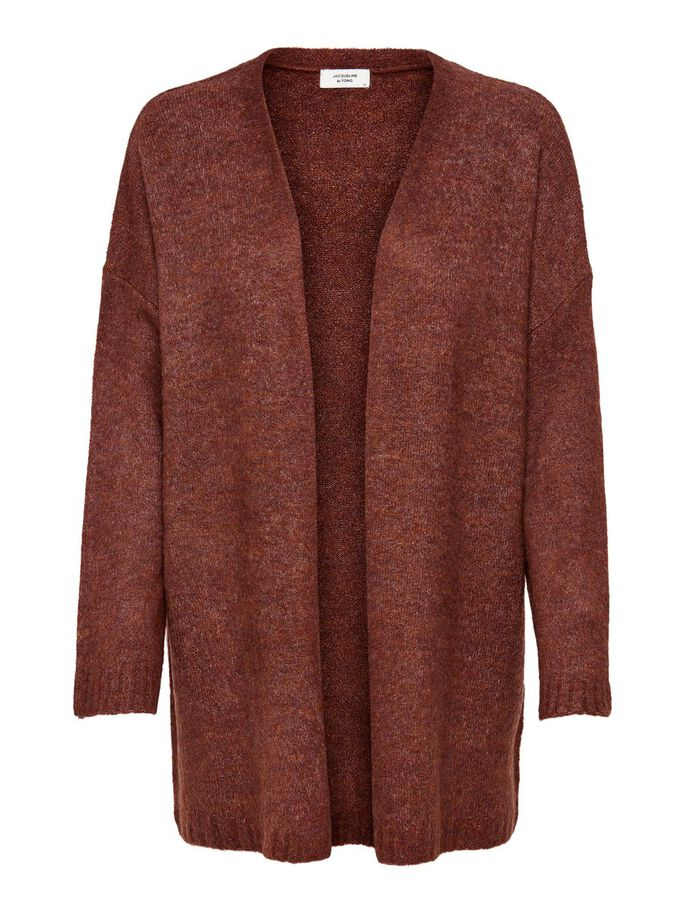 LOOSE FITTED KNITTED CARDIGAN, Cherry Mahogany, large