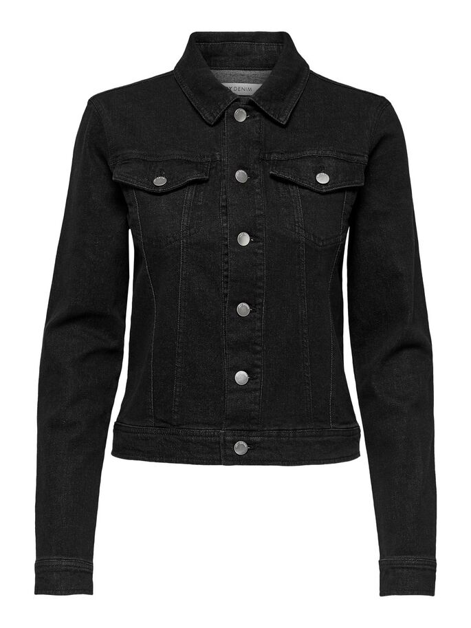 SHORT DENIM JACKET, Black Denim, large