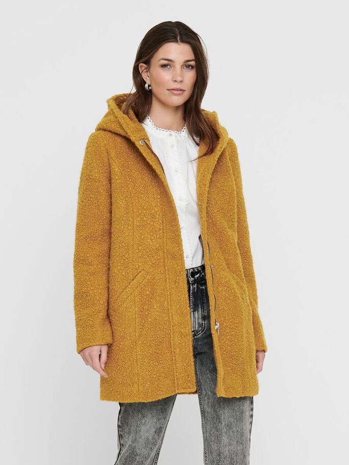 BOUCLE LONG JACKET, Golden Brown, large