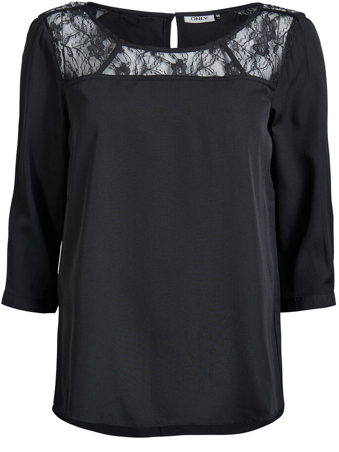 LACE DETAIL 3/4 SLEEVED BLOUSE, Black, large