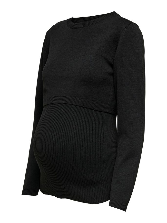 MAMA NURSING KNITTED PULLOVER, Black, large