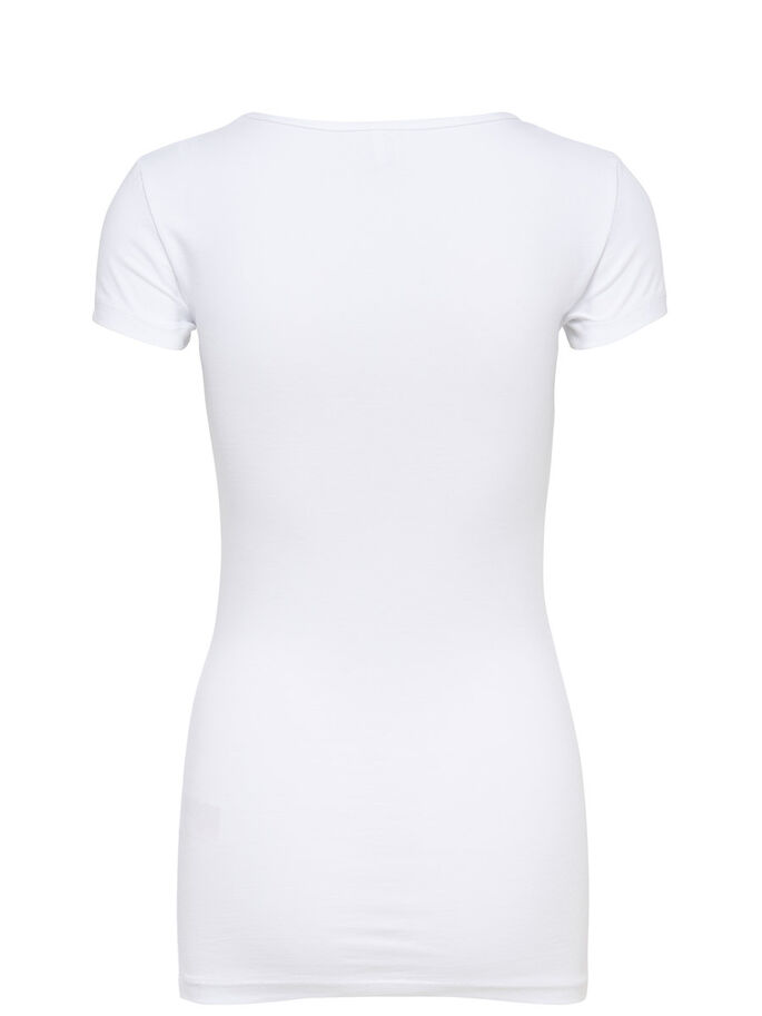 BASIC LONG SHORT SLEEVED BLOUSE, WHITE, large