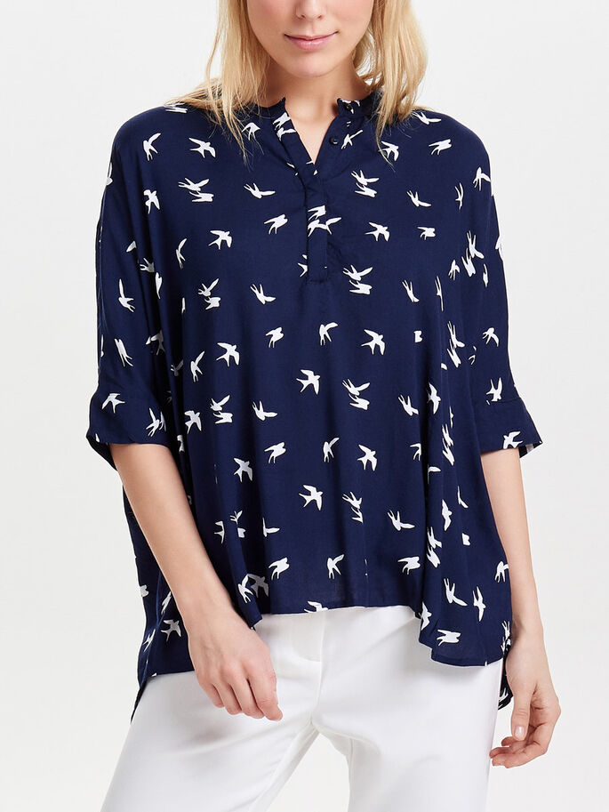 LOOSE 2/4 SLEEVED BLOUSE, Night Sky, large