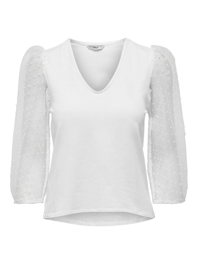 ORGANZA SLEEVE TOP, White, large