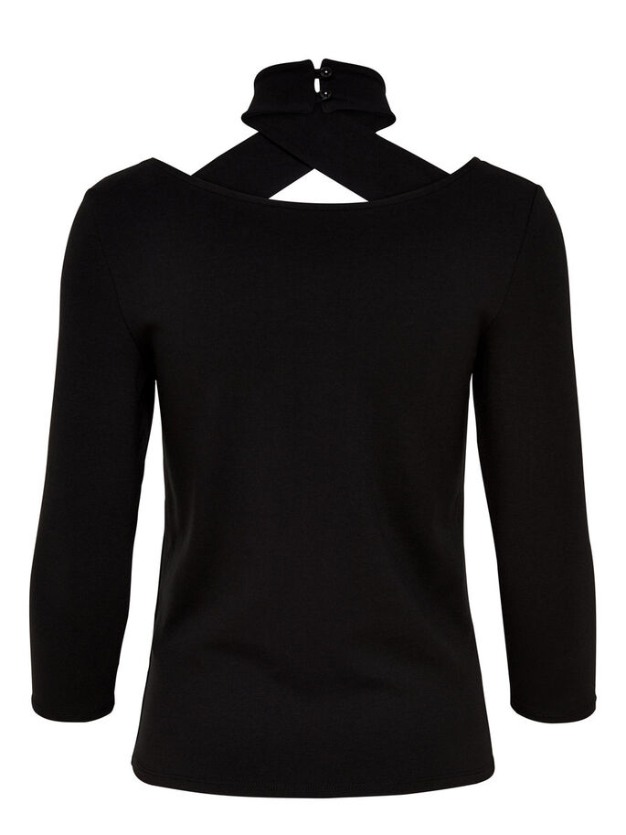 WRAP 3/4 SLEEVED TOP, Black, large