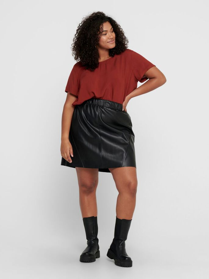 CURVY SHORT SLEEVED TOP, Fired Brick, large