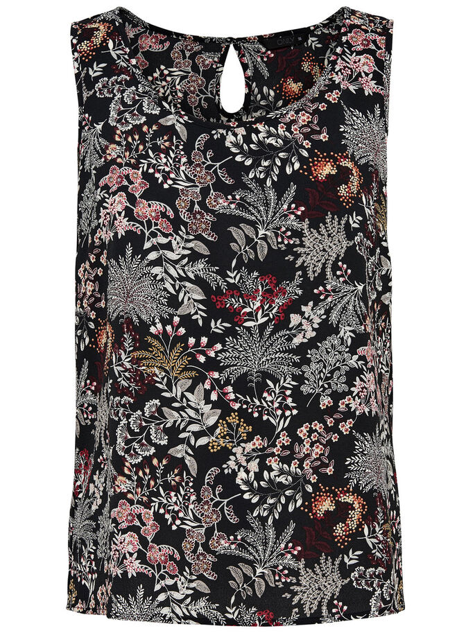 ESTAMPADO TOP SIN MANGAS, Black, large