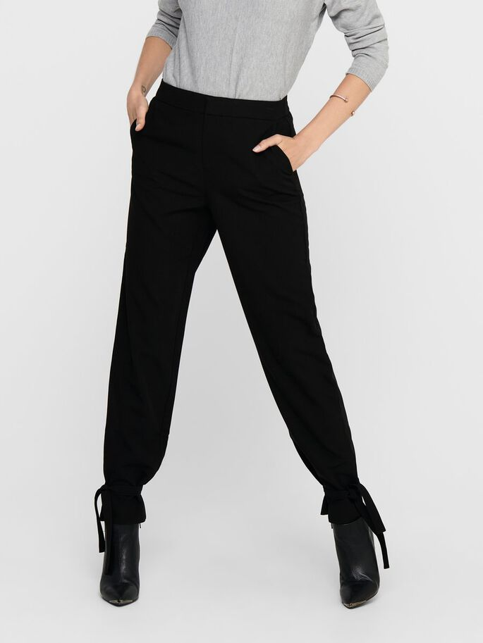 TIE STRING TROUSERS, Black, large