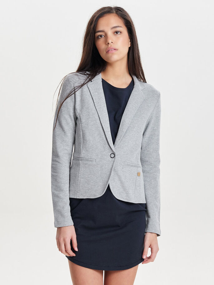EINFARBIGER BLAZER, Light Grey Melange, large