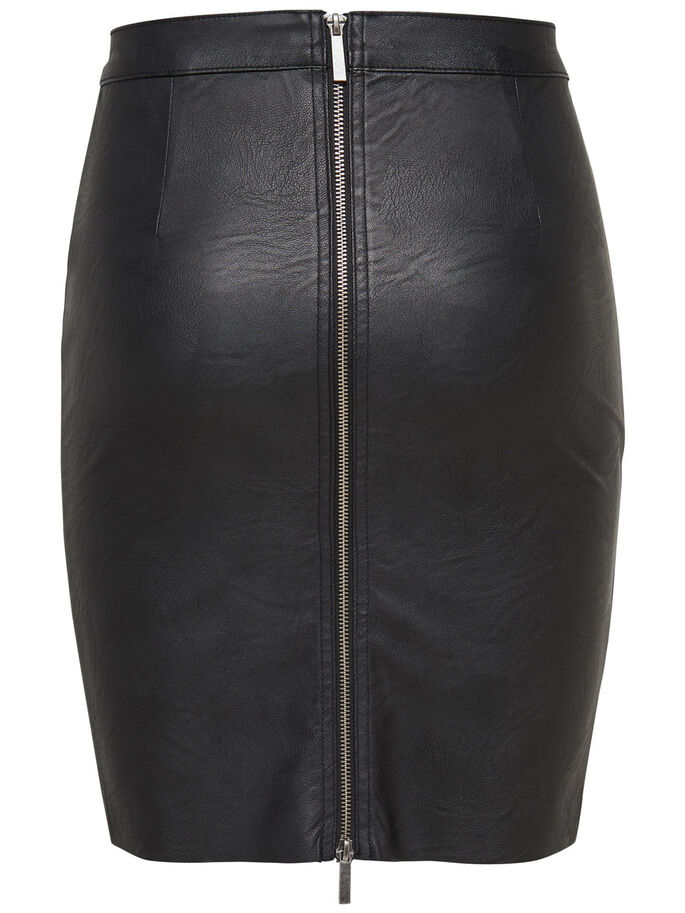 LEATHER LOOK PENCIL SKIRT, Black, large