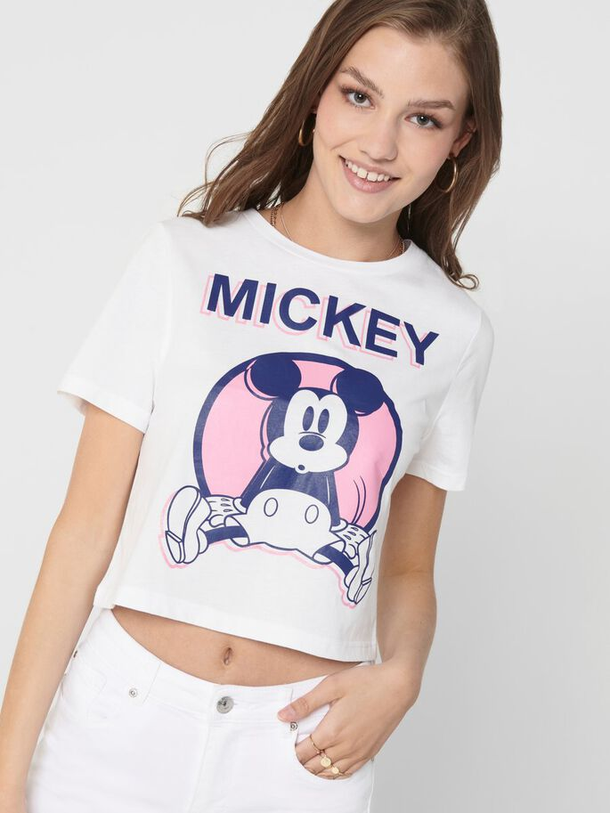 CROPPED MICKEY-PRINT T-SHIRT, Bright White, large
