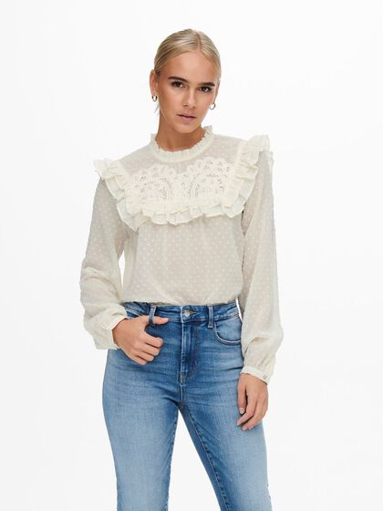 LACE AND FRILL DETAILED BLOUSE