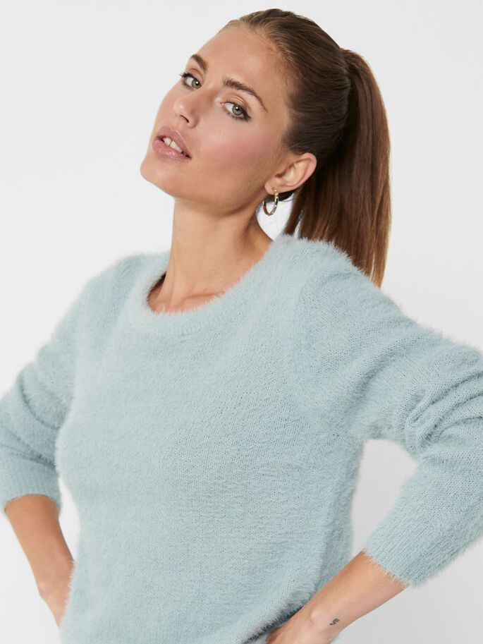 SOLID COLORED KNITTED PULLOVER, Abyss, large