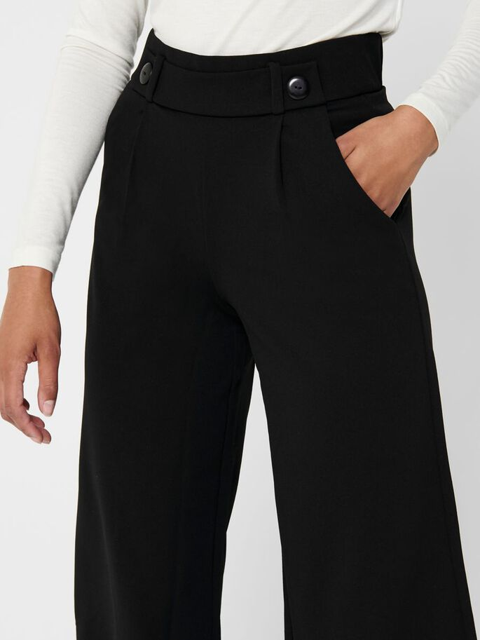 WIDE LEGS ANKLE TROUSERS, Black, large