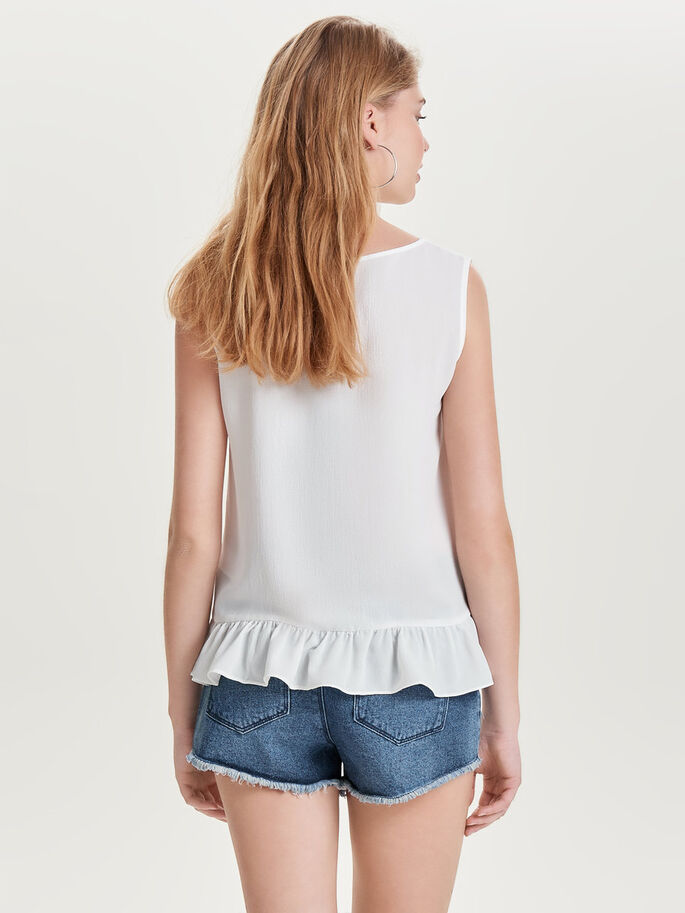 PEPLUM SLEEVELESS TOP, Cloud Dancer, large