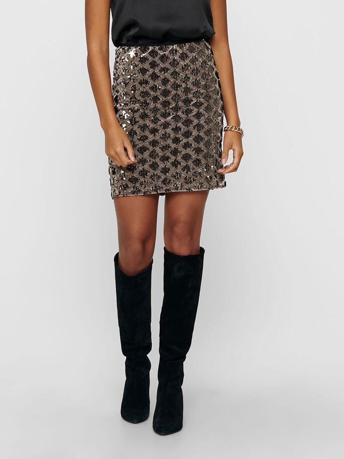 SEQUIN SKIRT, Brownie, large