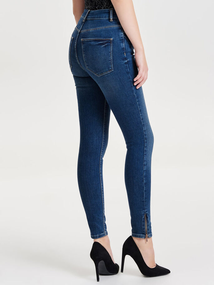 STUDIO1 HW FERMETURE ÉCLAIR CHEVILLE JEAN SKINNY, Dark Blue Denim, large