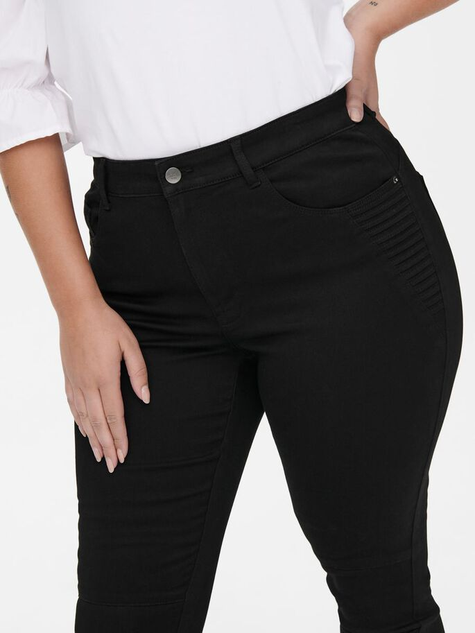 CARAUGUSTA BIKER STYLE HIGH WAISTED JEANS, Black, large
