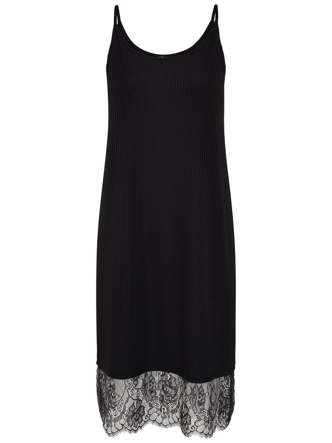 KNITTED SLEEVELESS DRESS, Black, large