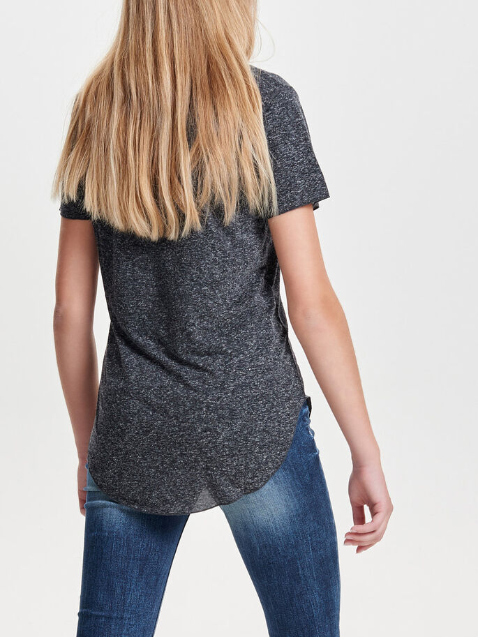 LOOSE SHORT SLEEVED TOP, Dark Grey Melange, large