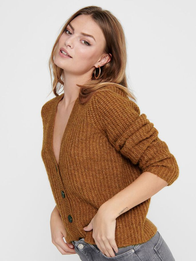 TEXTURE KNITTED CARDIGAN, Leather Brown, large