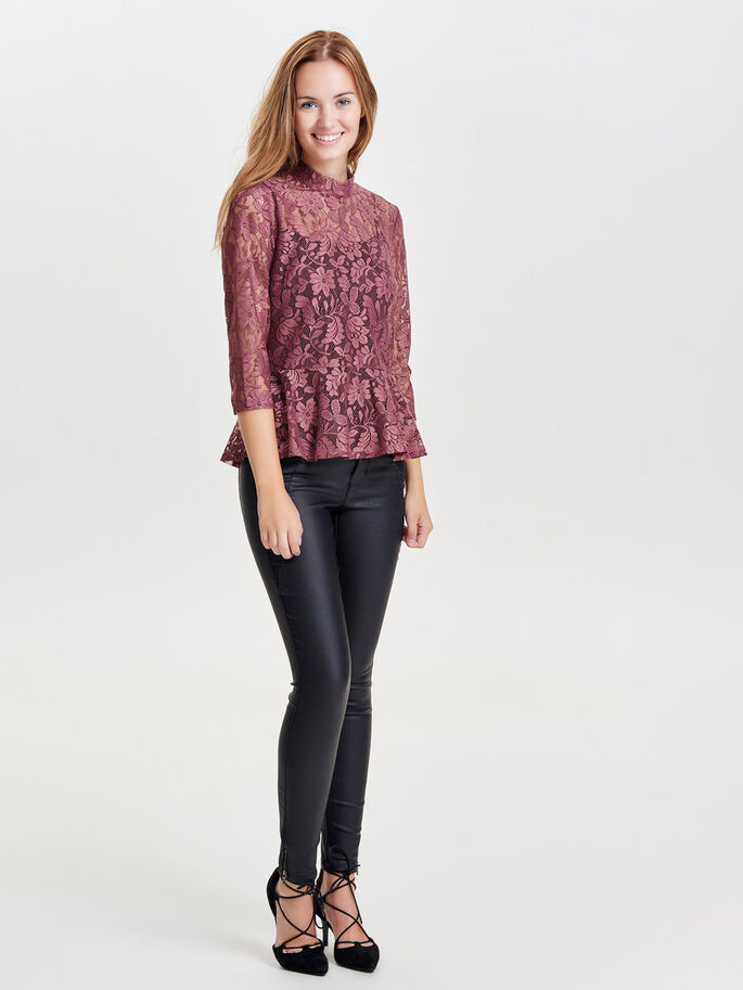 BLONDET BLUSE MED 3/4 ERMER, Withered Rose, large