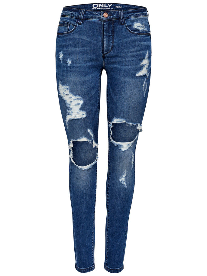 CARMEN NORMALHÖGA HÅLFÖRSEDDA SKINNY FIT-JEANS, Medium Blue Denim, large
