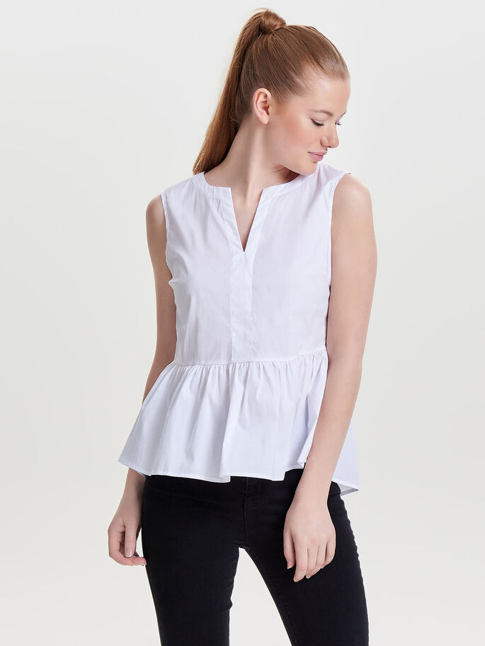 PEPLUM SLEEVELESS TOP, Bright White, large