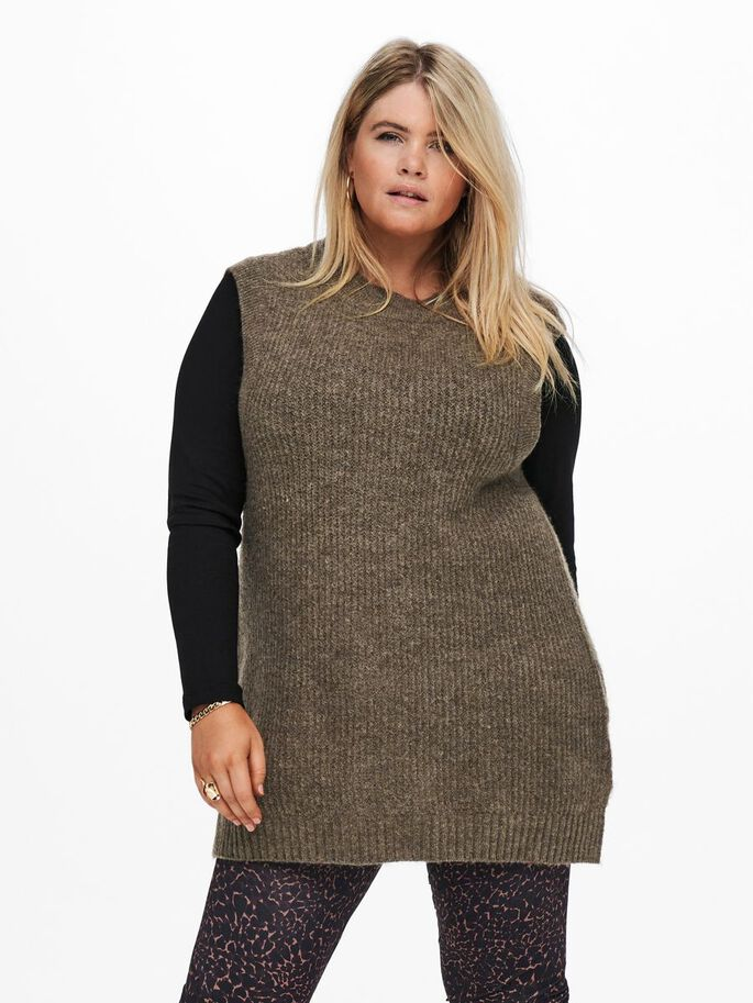 CURVY KNITTED WAISTCOAT, Chestnut, large