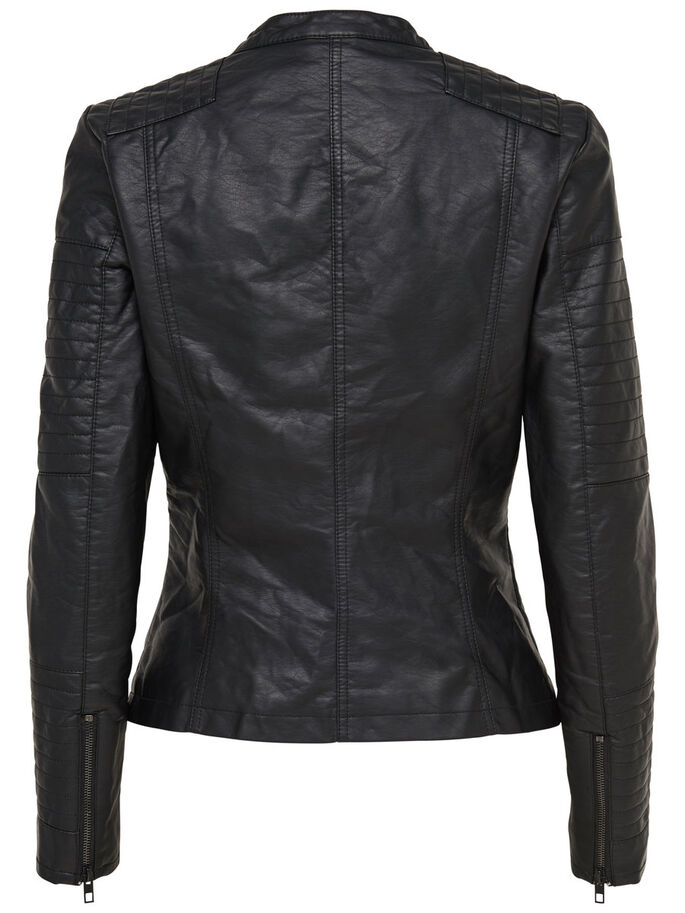 FAUX LEATHER BIKER JACKETS, Black, large