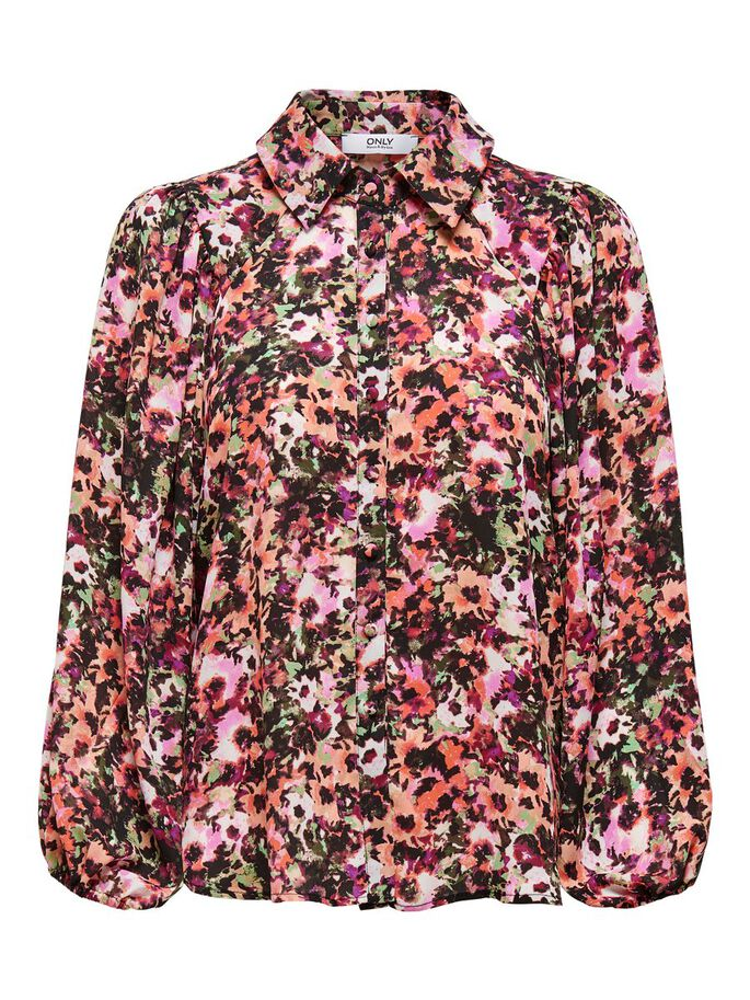 FLORAL PRINTED SHIRT, Black, large