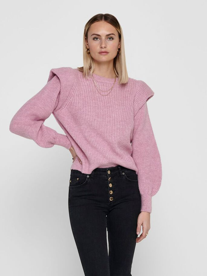 DETAILED KNITTED PULLOVER, Cradle Pink, large