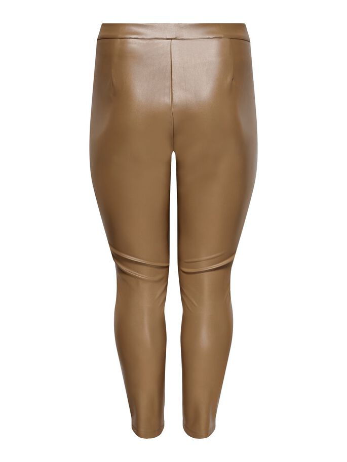 CURVY LEATHER LOOK LEGGINGS, Warm Sand, large