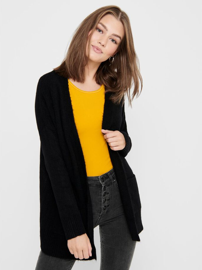 OPEN KNITTED CARDIGAN, Black, large