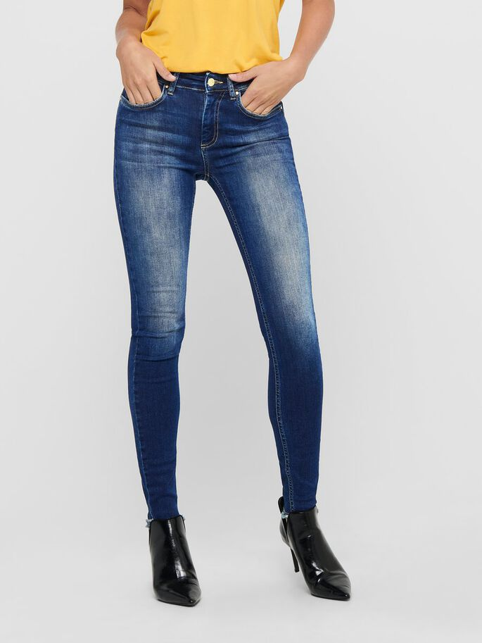 ONLBLUSH LIFE MID ANKLE SKINNY FIT JEANS, Dark Blue Denim, large