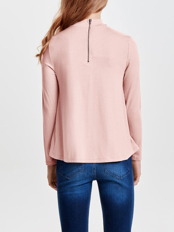 HIGH NECK LONG SLEEVED TOP, Rugby Tan, large