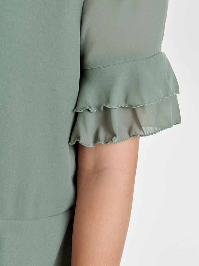 FRILL SHORT SLEEVED TOP, Agave Green, large