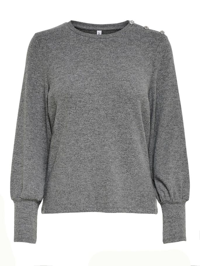 LONG SLEEVED TOP, Dark Grey Melange, large