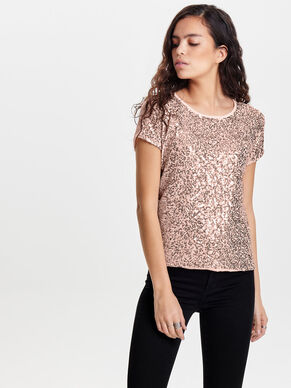 SEQUINS SHORT SLEEVED TOP