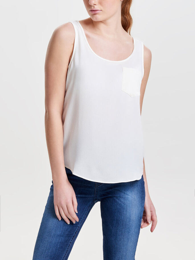 SOLID SLEEVELESS TOP, Cloud Dancer, large