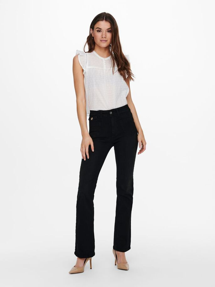 ONLEBBA HIGH WAIST BUTTON FLARED JEANS, Black, large