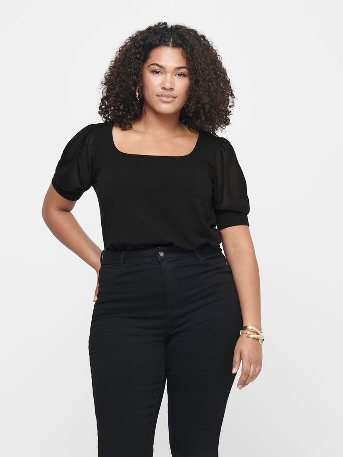 CURVY PUFF SLEEVE SHORT SLEEVED TOP, Black, large