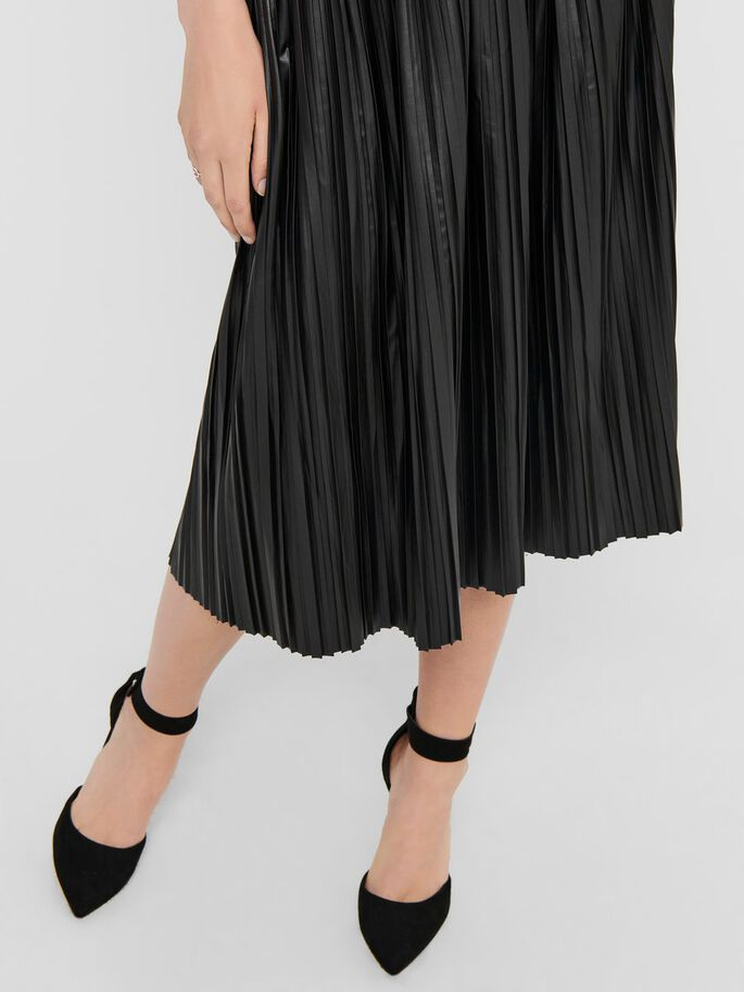 PLEATED MIDI SKIRT, Black, large
