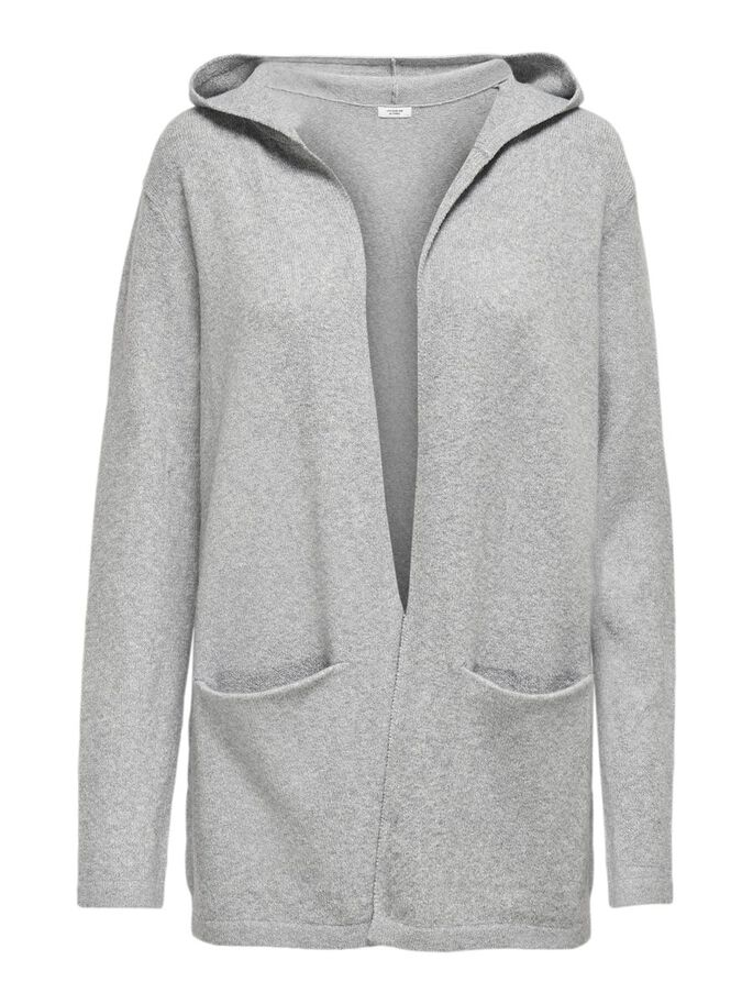 HOODED KNITTED CARDIGAN, Light Grey Melange, large