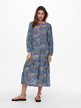 WIDE FITTED SLEEVE MAXI DRESS