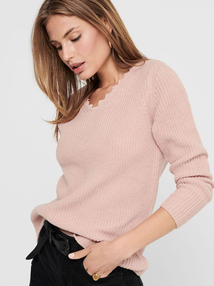 AMPLE PULL EN MAILLE, Rose Smoke, large