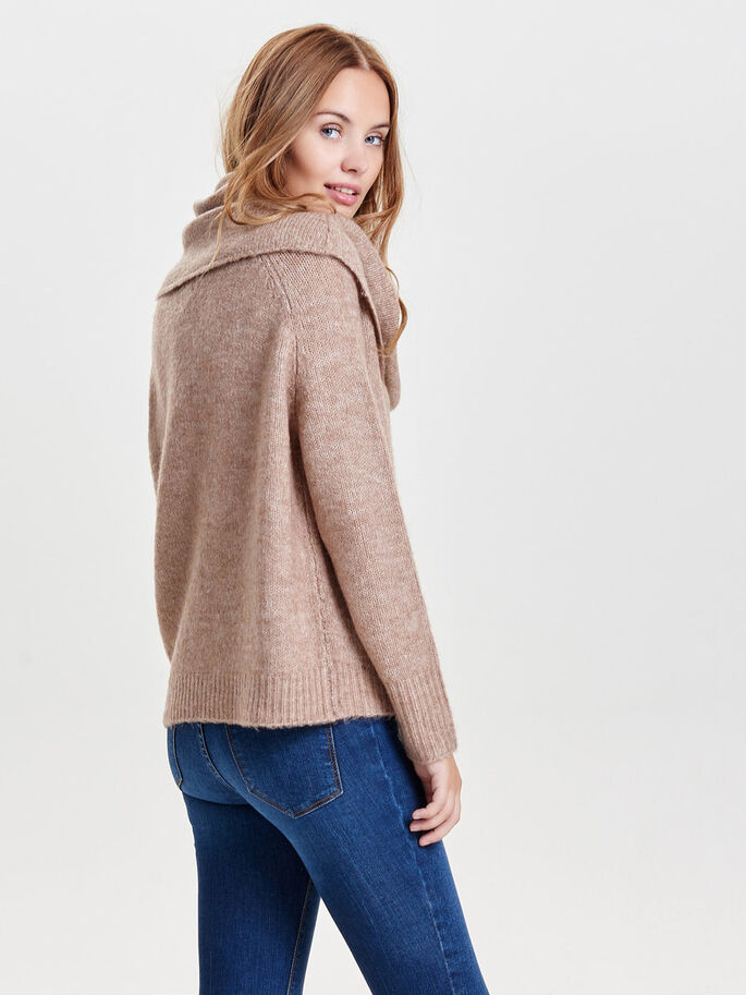 HIGH NECK KNITTED PULLOVER, Tobacco Brown, large