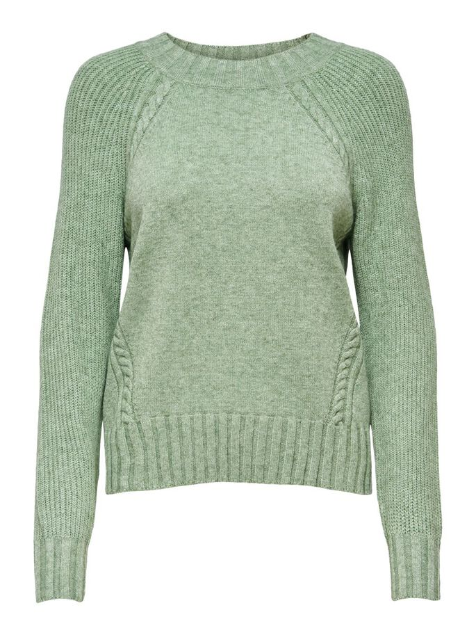 CÔTELÉ PULL EN MAILLE, Hedge Green, large